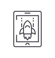 space rocket computer game line icon sign vector image