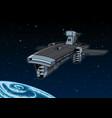 spaceship orbiting planet vector image vector image