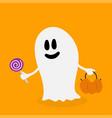 spirit ghost happy halloween cute cartoon vector image