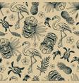 tropical hawaiian vintage seamless pattern vector image