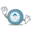 waving waves coin character cartoon vector image vector image
