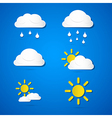 Weather Icons - Clouds Sun Rain on Blue Background vector image vector image