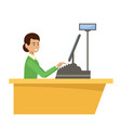 woman cashier in a supermarket vector image