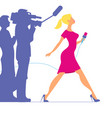 woman with microphone profession tv reporter vector image