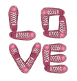 Words of love Sports poster with sneakers vector image vector image