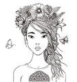 young beautiful asian woman with flowers