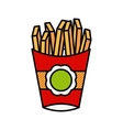 French fries in a red package vector image