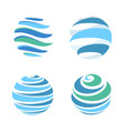 abstract blue global planet stripped logos vector image vector image