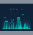 akron skyline ohio usa trendy city linear vector image vector image