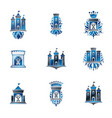 Ancient fortresses emblems set heraldic coat of