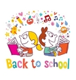Back to school girl and boy reading books vector image vector image