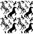 black seamless pattern with horses image vector image vector image