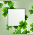 card on st patrick s day 3d effect clover vector image