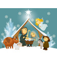 Cartoon nativity scene with holy family vector image vector image