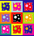 cheese slice sign pop-art style colorful vector image
