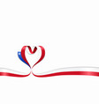 chilean flag heart-shaped ribbon vector image vector image