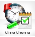 Clock notepad and marker vector image