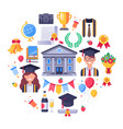 college graduate icons graduation day students vector image vector image