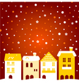 Colorful winter christmas town with snow behind vector image vector image