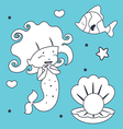 Cute Mermaid Fish and Shell Coloring book vector image vector image