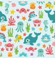 cute sea animals seamless pattern vector image
