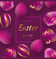 easter card with gold ornate golden eggs on a vector image vector image