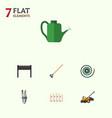 flat icon garden set of wooden barrier tool vector image vector image