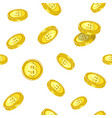 golden coins that drop from above inside seamless vector image vector image