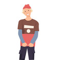 guy in hat with book isolated character vector image