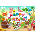 Happy Birthday card with farm animals cartoon vector image vector image