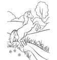Horse standing on the road in field vector image vector image