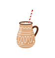 hot chocolate in brown ceramic mug with drinking vector image vector image