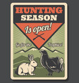 hunting season openning retro poster with game vector image vector image