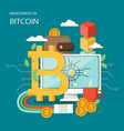 investment in bitcoin concept flat vector image vector image