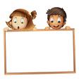 Kids holding wooden frame vector image vector image