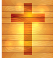 Lighted Holy Cross over Wooden Board Background vector image vector image
