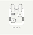 line flat military icon bulletproof vest vector image vector image