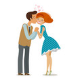 love romantic date concept couple kiss cartoon vector image vector image