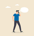 man talking on mobile phone with a speech bubble vector image