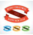 Merry Christmas message ribbons decoration set vector image