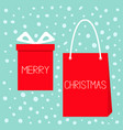 merry christmas red gift box with ribbon bow vector image vector image