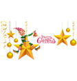 merry christmas text greeting card green elf vector image