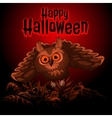 Owl on a red background with text Happy Halloween