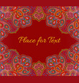 paisley floral invitation card in red color vector image vector image