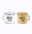 realistic enamel metal white and brown mugs vector image vector image