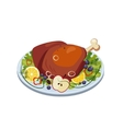 Roasted Turkey Ham with Vegetables and Apples on a