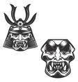 samurai warrior helmet isolated on white vector image vector image