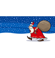 Santa Claus with sack cartoon card vector image vector image