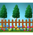 Scene with trees and wooden fence vector image vector image