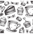 seamless cake pattern bakery cakes vector image
